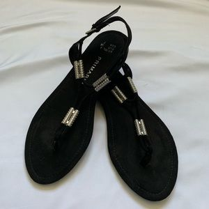 Black Faux Suede Sandals with Silver Accents